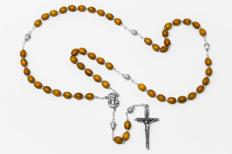 DIRECT FROM LOURDES - Acorn Olive Wooden Rosary Beads.