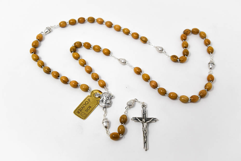 Direct From Lourdes Acorn Olive Wooden Rosary Beads