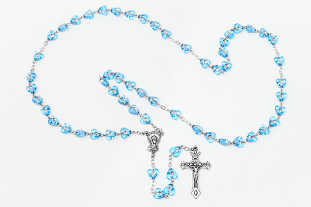 Light Blue Virgin Mary Rosary Beads.