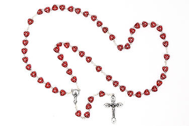 Red Virgin Mary Rosary Beads.