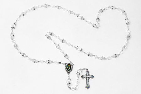 White Crystal Rosary Beads & Box .