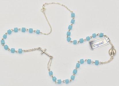 Miraculous Aqua Rosary Necklace