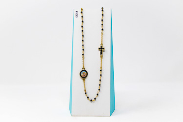 Fidei 3 Decade Black Rosary�Necklace.