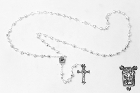 Silver Lourdes Water Rosary Beads.