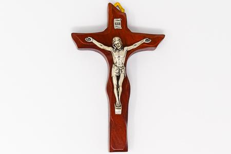 Dark Beachwood Wooden Crucifix.