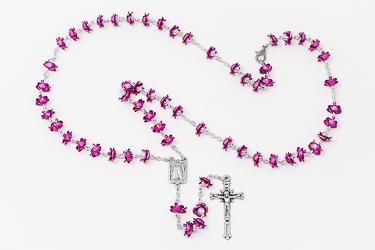 Rose Metal Amethyst Lourdes Rosary.