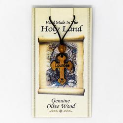 Olive Wood Lourdes Cross Pendant.