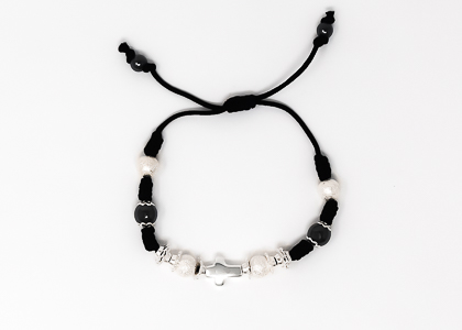Black Cross Rope Bracelet.