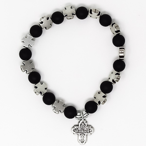 Black Cross Bracelet - 8 Way Cross Medal.