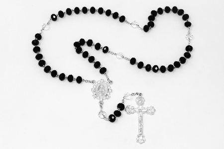 Black Crystal Rosary Beads