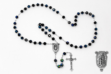 Black Crystal Rosary Beads with Lourdes Water.