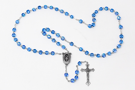 Blue Crystal Rosary Beads with Lourdes Water.