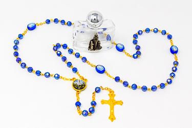 Blue Crystal Fatima Rosary Beads.