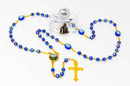 Blue Crystal Fatima Rosary Beads.