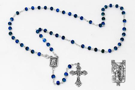 Blue Lourdes Rosary Beads