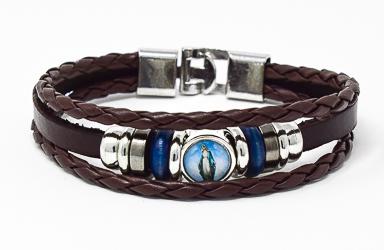 Miraculous Medal Leather Bracelet.