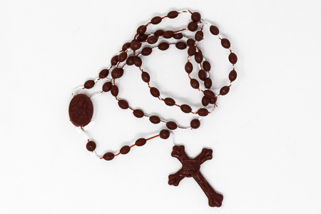 Plastic Corded Brown Rosary.