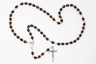 Wooden Lourdes Water Rosary Beads.
