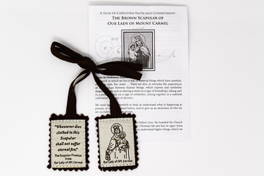 Brown Wool Scapular & Leaflet