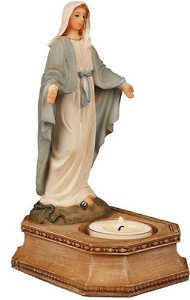 Our Lady of Grace Statue and Candleholder.