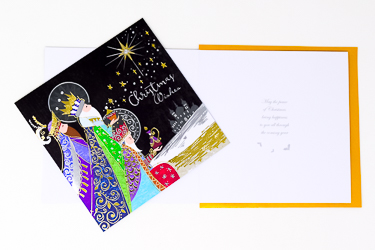 Handcrafted 3 Kings Christmas Card.