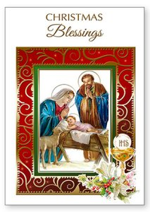 Christmas Priest Card - Holy Family..