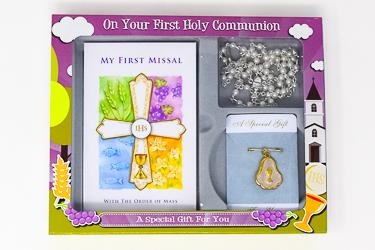 White Communion Rosette Gift Set.
