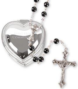 Communion Heart Rosary Gift Set.