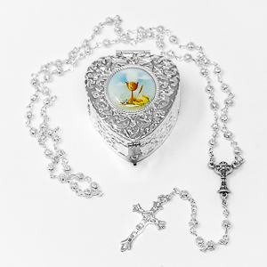 Communion Rosary with Matching Rosary Box