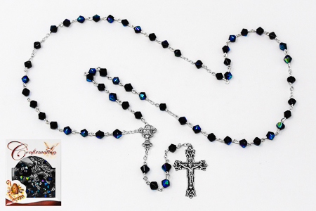 Confirmation Black Crystal Glass Rosary.