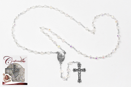 Confirmation Crystal Glass Rosary.