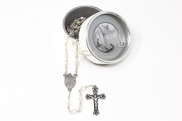Silver Plated Confirmation Metal Photo Box.