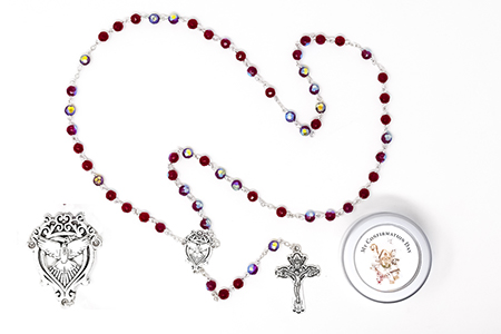 Confirmation Ruby Crystal Dove Rosary.
