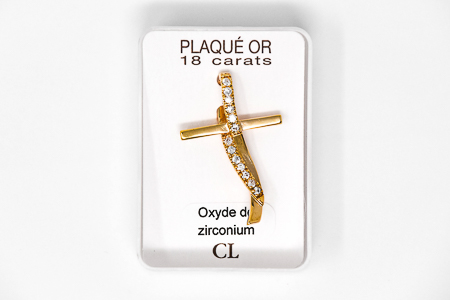 Gold Plated Cross Pendant Cubic Zirconium Stones.