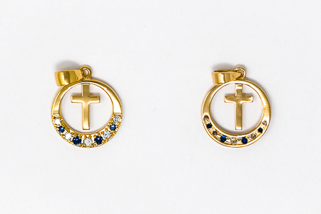 Cross Pendent with Blue Stones.
