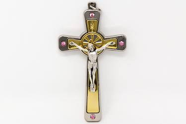 Crucifix With Pink Swarovski Crystals.