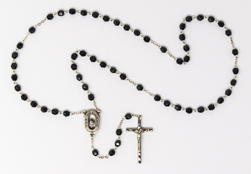 Crystal Cut Hematite Rosary Beads.