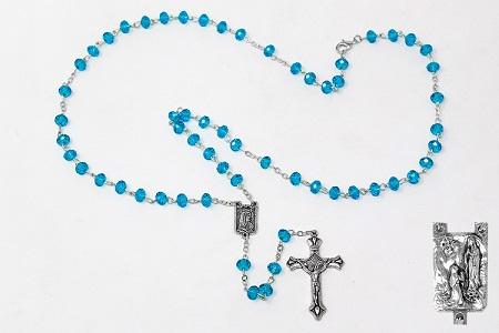 Diamond Cut Crystal Turquoise Rosary.