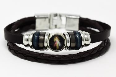 Divine Mercy Leather Bracelet.