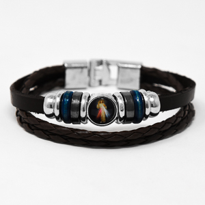 Divine Mercy Leather Bracelet.