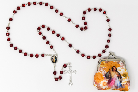 Divine Mercy Rosary Beads & Rosary Purse..