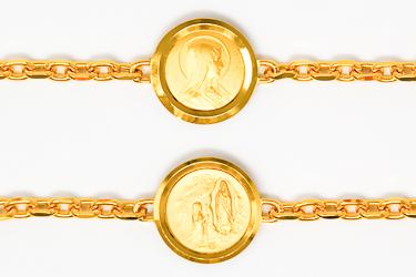 Gold Lourdes Apparition Medal Bracelet