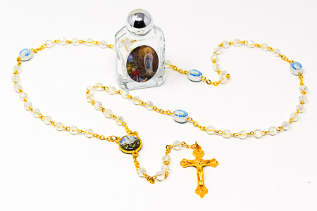 Crystal Fatima Rosary Beads.