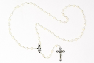 Our Lady of Fatima Silver Pearl Rosary.