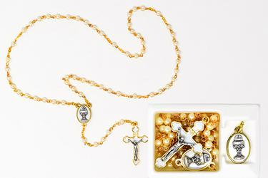 First Communion Rosary with Chalice Medal.