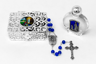 Agate Lourdes Water Rosary Gift Set