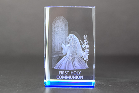 Girl's Communion 3-D Crystal Paperweight.