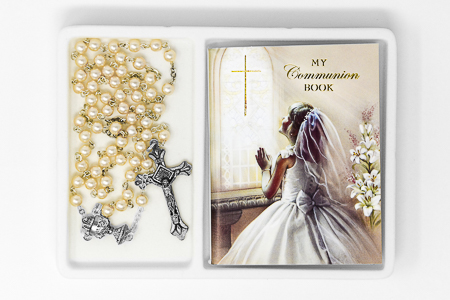 Girl's Communion Rosary and Prayer Book.