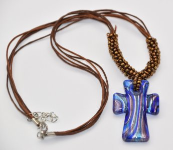 Murano Glass Cross Necklace.
