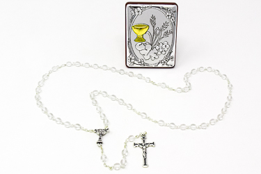 Glass Crystal First Holy Communion Rosary.